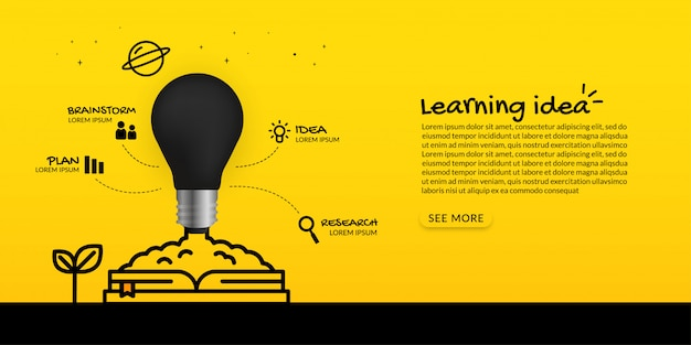 Lampadina che si lancia dal libro su fondo giallo, imparante concetto di idea