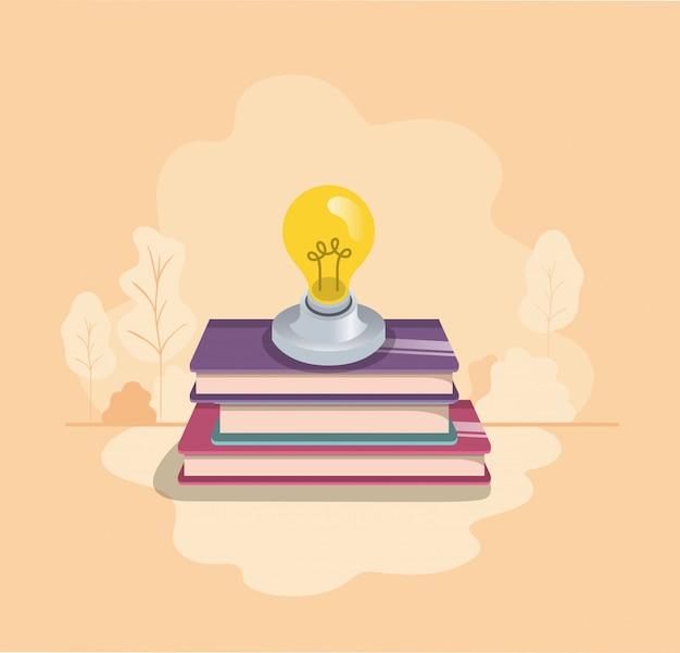 Lampadina con icona isolato libri