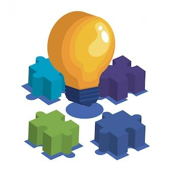 Lampadina con pezzi del gioco puzzle