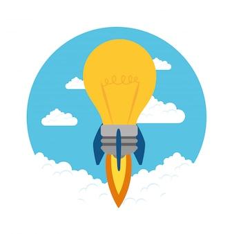 Lampadina del lancio di razzi nello spazio del cielo, concetto startup creativo