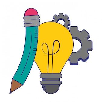 Lampadina e matita con simboli di ingranaggi linee blu