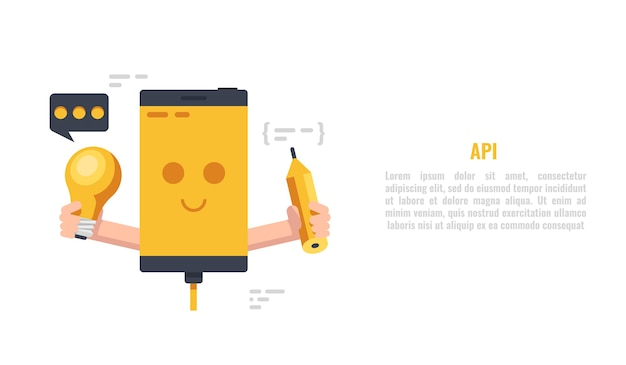 Lampadina e matita sorridenti della tenuta del telefono cellulare, sviluppo di web