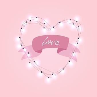 Lampadina elettrica realistica 3d nel telaio a forma di cuore con il nastro di rpink e testo di amore.