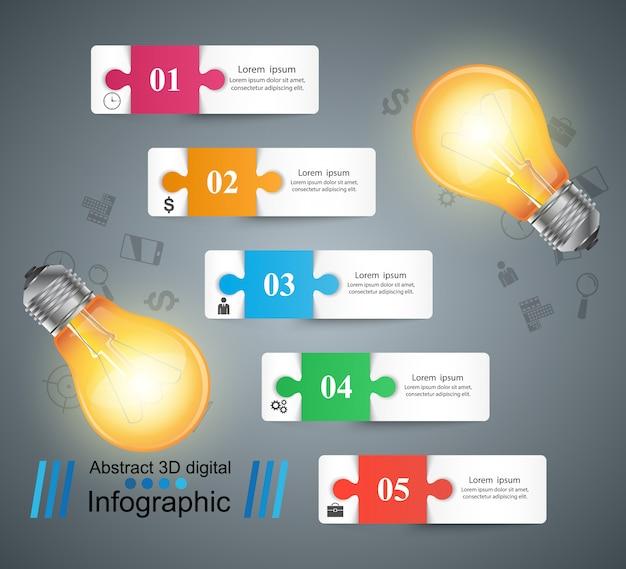 Lampadina, luce, affari elettrici infografica