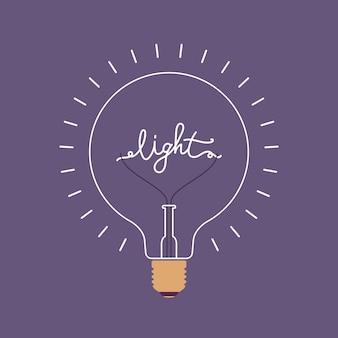 Lampadina splendente con una parola luce dentro