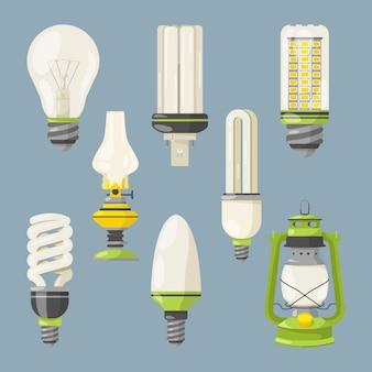 Lampadine diverse simboli di luce in stile cartone animato. insieme dell'illustrazione di vettore della lampadina isolata