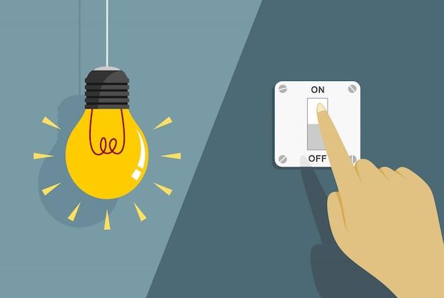 Lampadine piatte accese e spente con interruttori della luce accesi