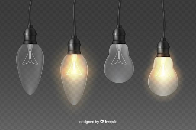 Lampadine realistiche dell'illustrazione di effetto della luce