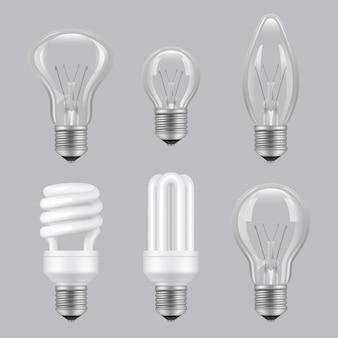 Lampadine realistiche. immagini di raccolta di lampade trasparenti in vetro di elettricità