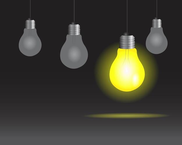 Lampadine realistiche sullo sfondo della lampada