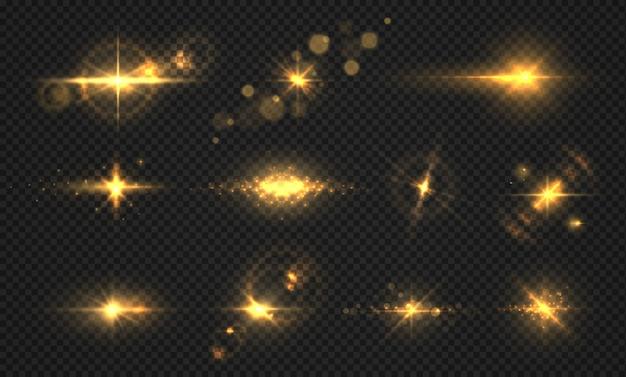 Lampeggia luci e scintille. realistico bagliore dorato lucido, effetti di luce solare trasparenti, particelle e scoppio di stelle.