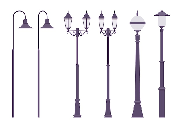 Lampione nero retrò. palo della città classico, lampione alto che illumina la strada per una camminata sicura. architettura del paesaggio, sistema di illuminazione, progettazione urbana. illustrazione del fumetto di stile