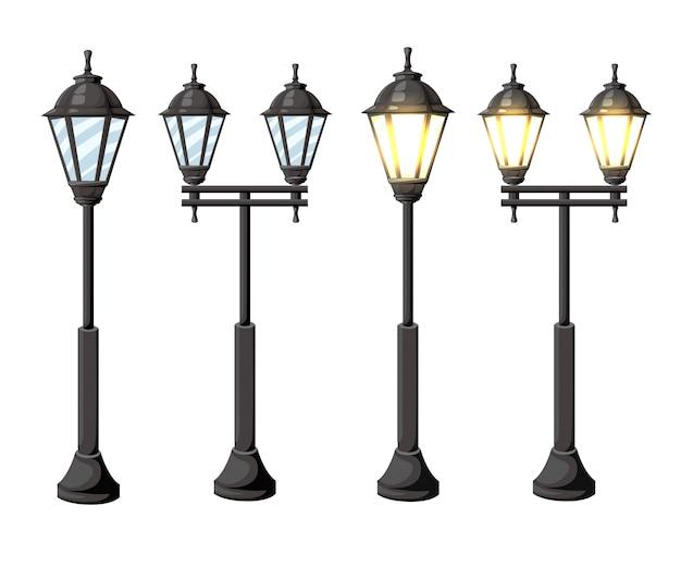 Lampioni d'epoca. luci lampione retrò su sfondo bianco isolato su sfondo bianco pagina del sito web e app mobile