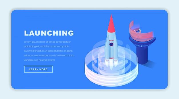Lancio del modello di pagina di destinazione isometrica aziendale