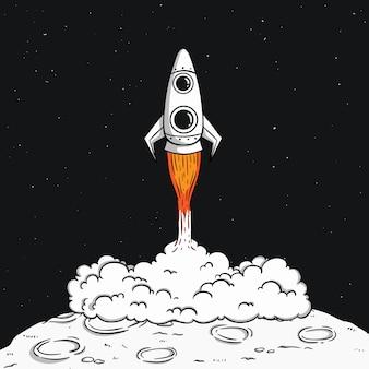 Lancio del razzo spaziale sulla luna con fumo e illustrazione dello spazio