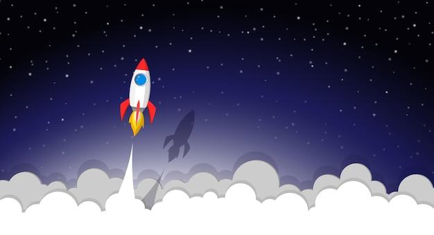 Lancio di razzi spaziali verso il cielo notturno