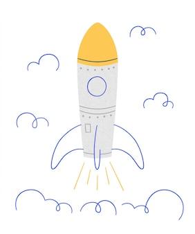Lancio di un razzo. simbolo di avvio riuscito. illustrazione in stile doodle