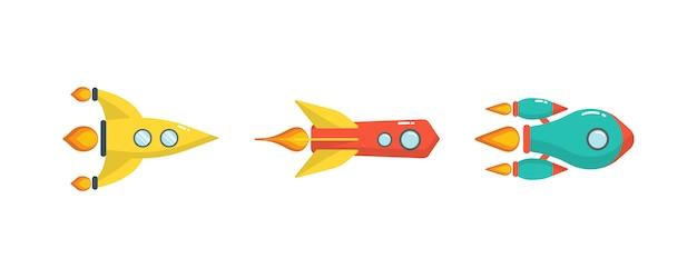 Lancio di un razzo spaziale. trasporto fantastico oggetto isolato. set di razzi di lancio isolato su sfondo bianco. navicella spaziale