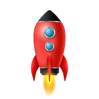 Lancio di una nave spaziale razzo 3d