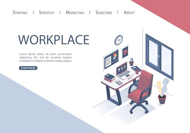 Landing page design del modello web con il concetto di posto di lavoro in ufficio.