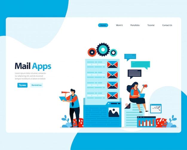 Landing page di invio, ricezione, gestione e-mail. programmazione del lavoro con servizi di posta elettronica aziendali digitali. illustrazione