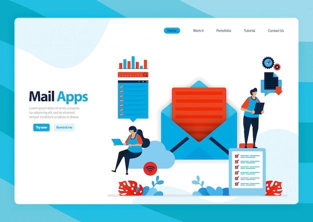 Landing page di invio, ricezione, gestione e-mail.