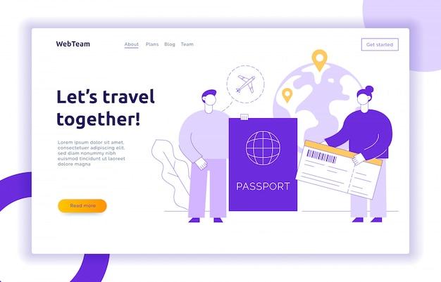 Landing page di viaggio con grandi persone moderne, uomo e donna che viaggiano per il mondo.