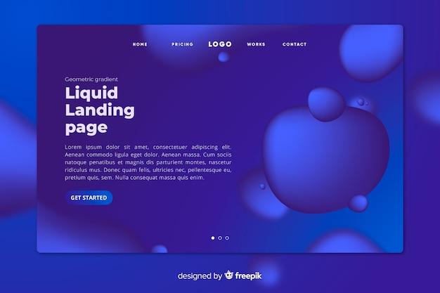 Landing page liquido blu scuro con bolle