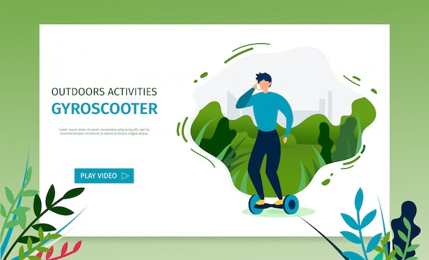 Landing page offering video for riding gyroscooter