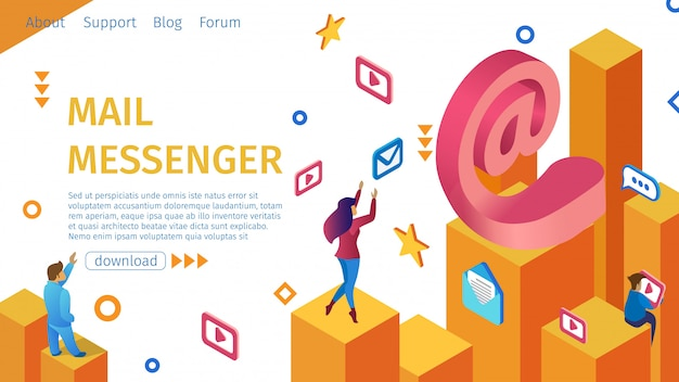 Landing page ottenere mail messenger flat banner.