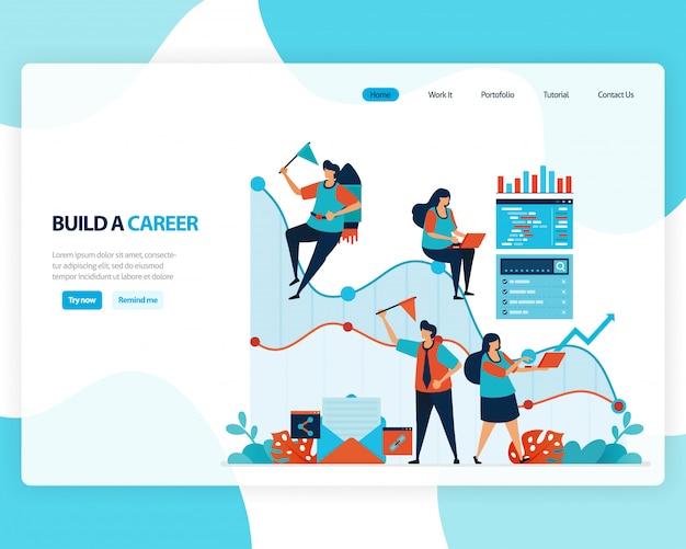 Landing page per costruire una carriera e una leadership. grafico nel raggiungimento degli obiettivi aziendali. sviluppare il lavoro mentale.