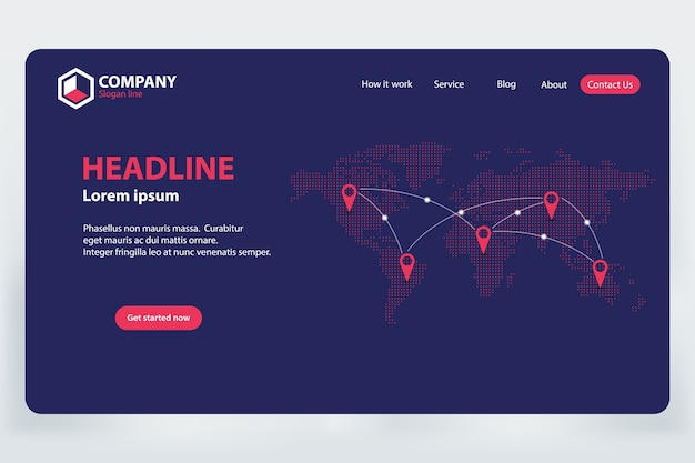Landing page world communication network template design