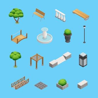 Landscaping elementi isometrici per la progettazione di giardini e parchi con piante alberi e oggetti isolati su