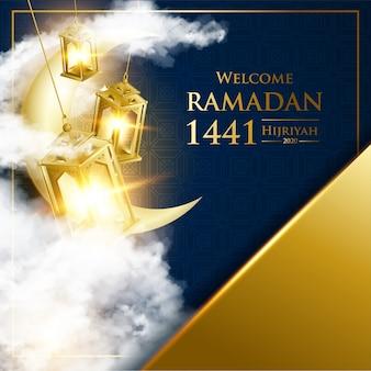 Lanterna d'oro fanous per il festival di ramadan kareem con testo di calligrafia araba e falce di luna.