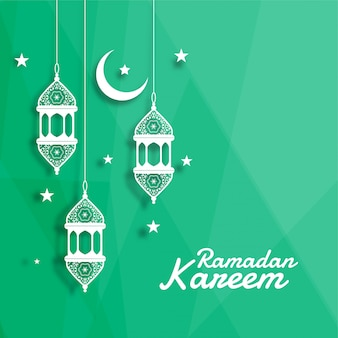 Lanterna islamica decorativa con la luna e la priorità bassa della stella