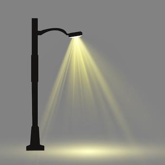 Lanterna sullo sfondo. lampione moderno luminoso. illustrazione vettoriale bella luce da un lampione.