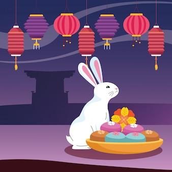 Lanterne cinesi e coniglio, felice festa di metà autunno