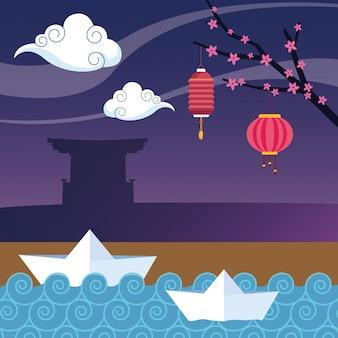 Lanterne cinesi e navi di carta