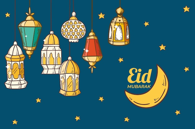 Lanterne colorate e luna disegnata a mano eid mubarak
