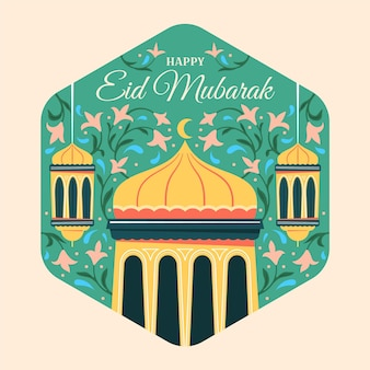 Lanterne e fiori disegnati a mano eid mubarak