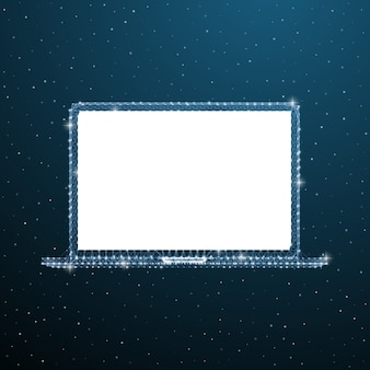 Laptop aperto. mockup di computer portatile wireframe.