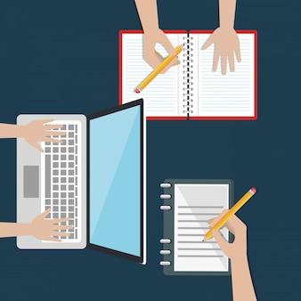 Laptop con icone di educazione facile e-learning