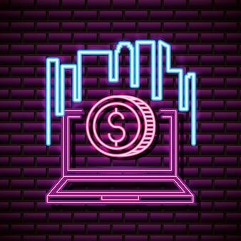 Laptop con moneta, muro di mattoni, stile neon