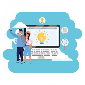 Laptop per studenti millenario per l'istruzione online