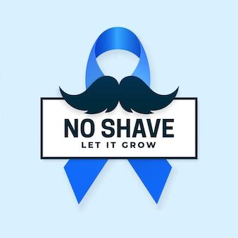 Lascia che cresca la progettazione di massima di campagna di mese di consapevolezza del cancro dei baffi con il simbolo del nastro blu e l'illustrazione di vettore dei baffi