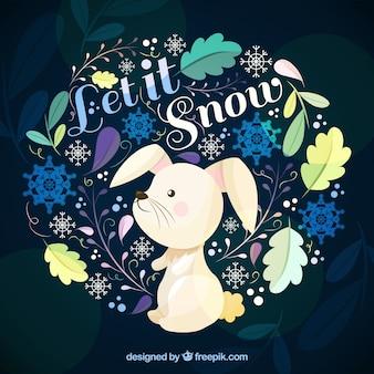 Lascia che nevichi sullo sfondo con un coniglio