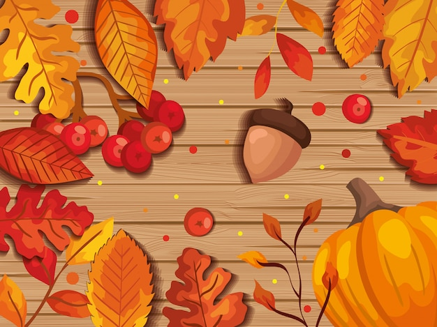 Lascia l'autunno nel fondo di legno con i frutti matti