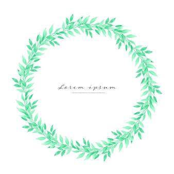 Lascia la cornice del cerchio dell'acquerello, cornice minimalista con foglie acquerello.