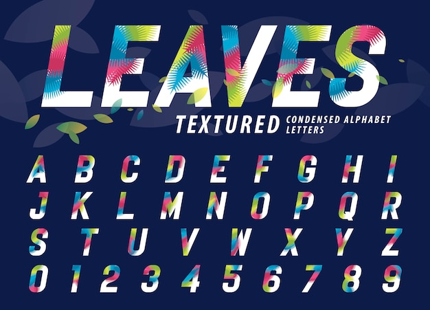 Lascia le lettere e i numeri di alfabeto di struttura, lettera di foglia di palma moderna