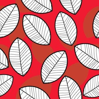Lascia ombreggiatura sul pattern di disegno a mano sfondo rosso